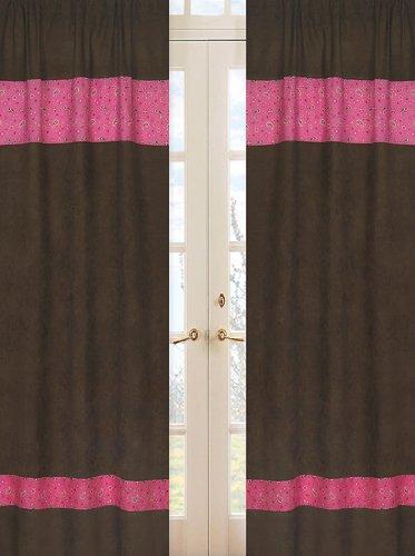 Sweet Jojo Designs 2-Piece Western Cowgirl Window Treatment Panels Bandana Print and Chocolate Microsuede