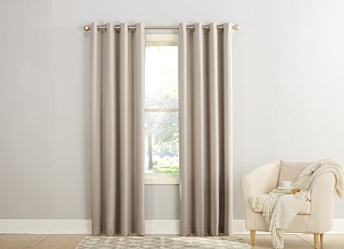 Sun Zero Barrow Energy Efficient Grommet Curtain Panel, 54″ x 84″, Stone Beige