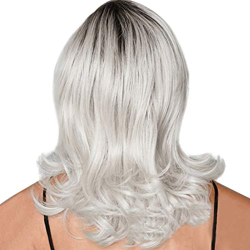 Wig Clearance Fashion Synthetic Micro-volume Wave Black Silver Gray Women's Wigs Natural Hair by USLovee3000
