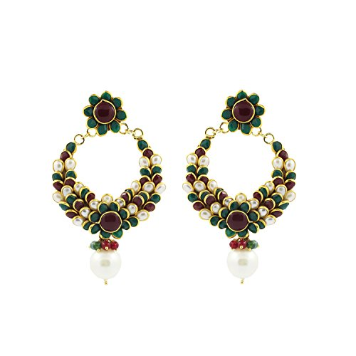 Be You Amazing Red-Green Color Ruby-Emerald & Pearl Pachi Work Rhodium Plated Brass Chand Bali Earring for Women (Plated Chand Brass)
