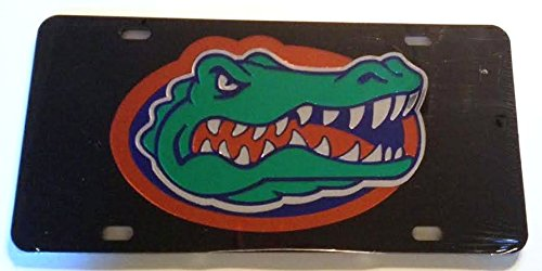 Gator Head Mirror - Black Florida Gators Mirrored Car Tag - UF Gator Head License Plate