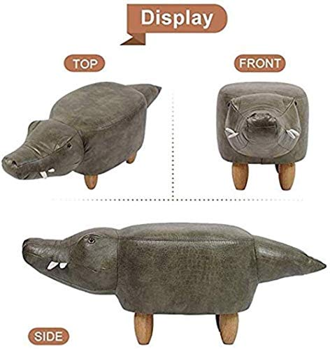 Stol fotpall djur sko bänk krokodilformad pall, hem massiv trä soffa pall multifunktionell läderbyte skobänk, 63 x 35 x 45 cm (storlek: 63 x 35 x 45 cm), storlek: 63 x 35 x 45 cm
