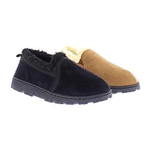 Gold Toe Norman Boy's Memory Foam Slippers Warm Sherpa Fleece Lined House Shoes Casual Slip On Loafers