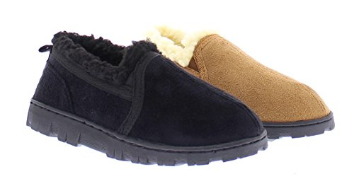 Gold Toe Norman Boy's Memory Foam Slippers Warm Sherpa Fleece Lined House Shoes Casual Slip On Loafers