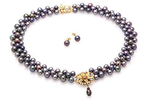 Hand Woven Blossoming Peacock Pearl Necklace & Earrings Set with Diamond and Garnet Briolette Drop