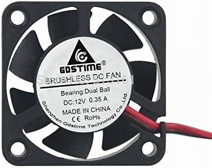 Gdstime High Speed Ball Bearing 40x40x10mm DC 12V 2 Pin 40mm Brushless Computer Cooling Fan