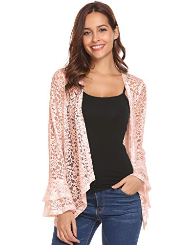 Concep Ladies Bolero Shrug Bell Sleeve Lace Crochet Ruffle Open Front Cardigan Coverups (Nude, S)