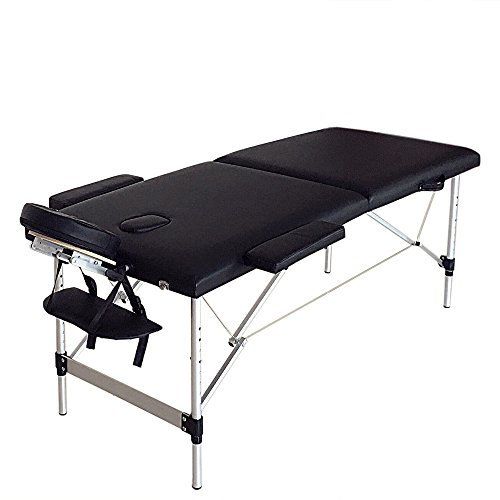 Mefeir Professional Folding Portable SPA Bodybuilding Comfortable Massage Table,73″ Adjusting Height Facial Bed,With Headrest Arm Rest,2 Sections Aluminum Black