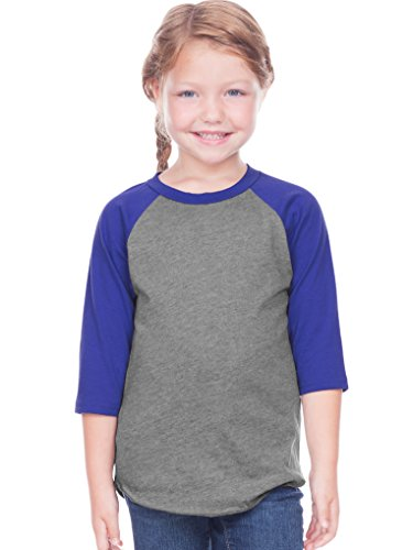 ey Contrast Raglan 3/4 Sleeve Dark H.Gray/Cobalt Blue 5T ()