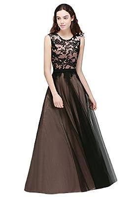 Babyonlinedress Crew Neck Black Lace Overlay Applique Evening Long Prom Dress
