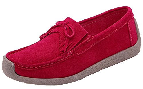 DADAWEN Women's Suede Penny Loafers Flat Moccasins Deck Boat Shoes Red (New)