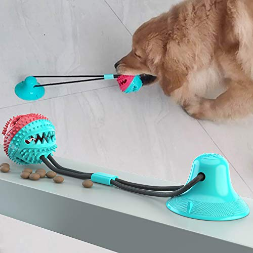 GETIEN Suction Cup Dog Toy Upgraded Dog Molar Bite Chew Toy Interactive Dog Toys Cleaning Teeth Multifunction for Pet Dog (Light Blue)