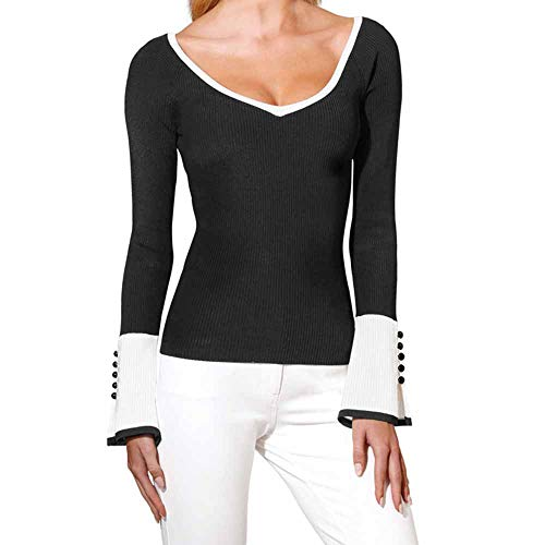 iQKA Womens Sexy V-Neck Sweater Plus Size Long Bell Sleeve Ribbed Knitted Slim Pullover Patchwork Tunic Top(Black,XXXXXL)
