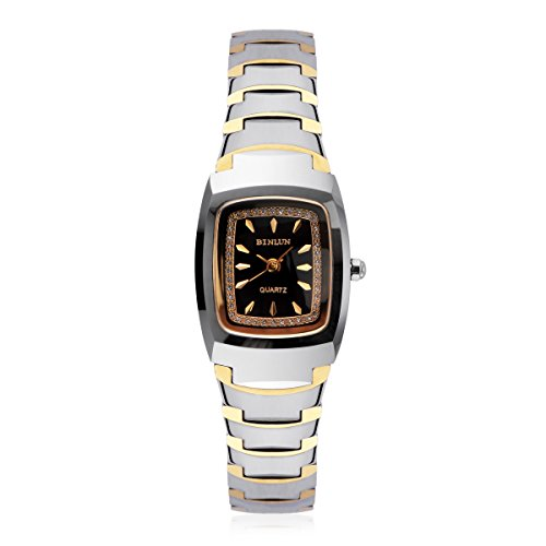 BINLUN RectangleWatch Women 18k Gold Plated Two Tone Tungsten Ladies Quartz Watches with Calendar Date