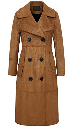 chouyatou Women's Elegant Notched Collar Double Breasted Suede Leather Trench Coat (Medium, ()