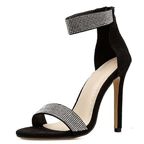 Señoras Correa Rhinestone Tacón Tobillo Sandalias Tamaño Semana Noche Strappy Alto De Zapatos De Fin Mujeres Black Fiesta XYFqSX