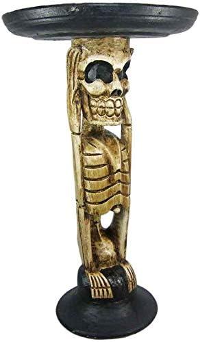 Bad Social Skeleton Blood Drunk Tiki Table Skull Bone Hand Carved Wood Plant Stand End Table Sculpture Bar Decor