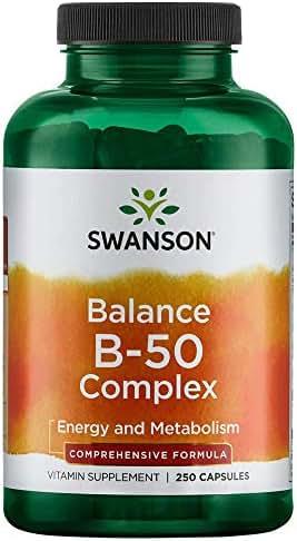 Swanson B-50 B-Complex Vitamins Energy Cardio Stress Metabolism Support 250 Capsules (Caps)