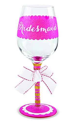 Mud Pie Bridesmaid Wine Glass, Pink