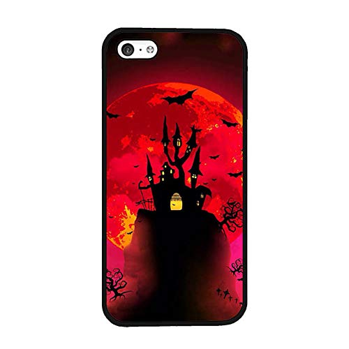 Halloween Day Phone Shell Compatible with iPhone 5C, Hippie Horror Story Clip Art Anti Scratch Plastic Hard Back Compatible with iPhone 5C