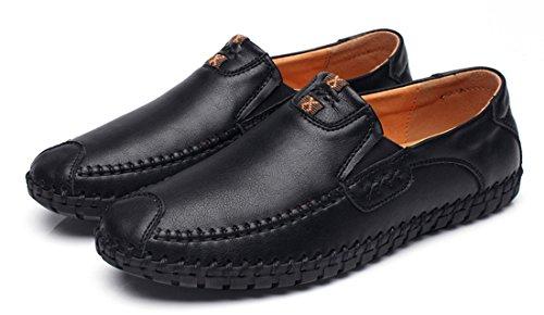 Tda Heren Casual Lederen Stiksels Mocassins Loafers Instapschoenen Zwart
