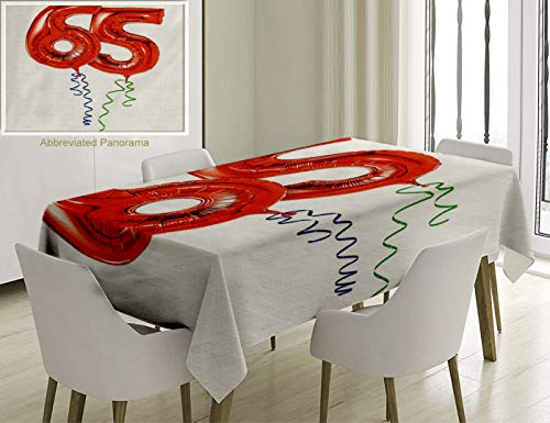 Unique Custom Cotton and Linen Blend Tablecloth 65Th Birthday Decorations Birthday Balloons Age Sixty Five Joyous Party Object Image Red Green BlueTablecovers for Rectangle Tables, 70 x 52 inches