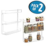 mDesign Wall Mount Kitchen Spice Organizer Rack for Herbs, Salt, Pepper, Cinnamon, Ginger, Garlic - Pack of 2, 3-Tier, Clear