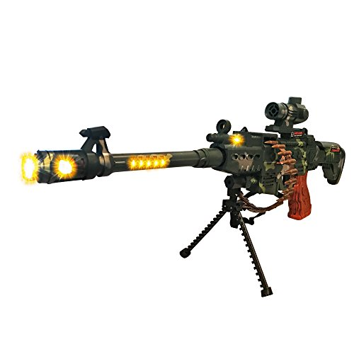 LilPals Special 25 Inch Rapid Fire Machine Gun Toy - With Dazzling Light, Remarkable Sound & Amazing Machine Gun Live Action