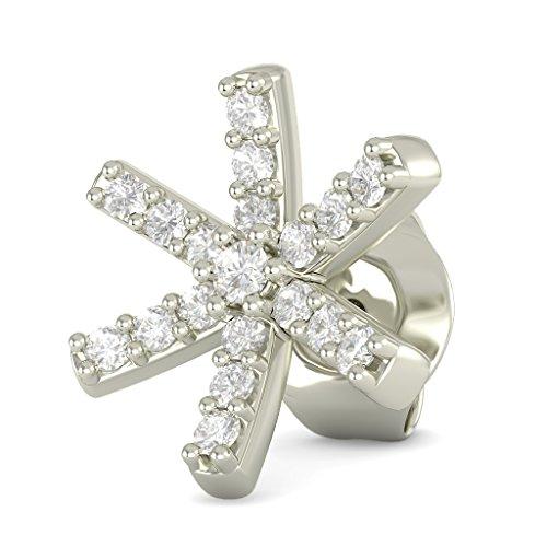 18K Or Blanc 0.128CT TW Round-cut-diamond (IJ | SI) Boucles d'oreille à tige