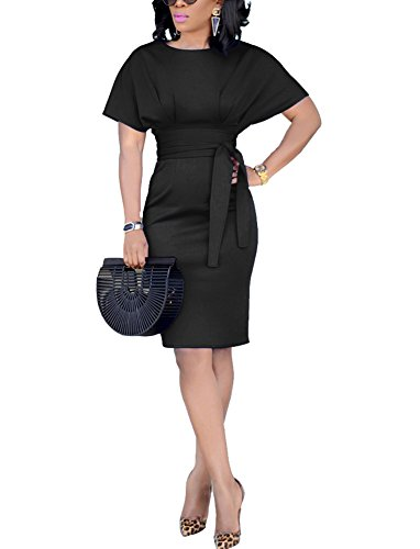 Women's Solid Ruched Belted Midi Business Dresses (Large, Black)