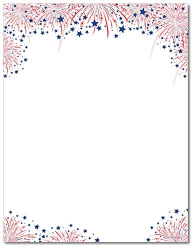 - Fireworks American Patriotic Stationery Paper - 80 Sheets