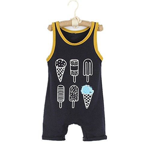 Younger Tree Toddler Baby Boy Girl Romper Sleeveless Ice Cream Print Jumpsuit Summer Clothes Set (Black, 18-24 Months) by Younger Tree