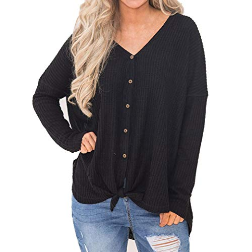 (Clearance Gillberry Hot Sales,Womens Loose Knit Tunic Blouse Knot Henley)