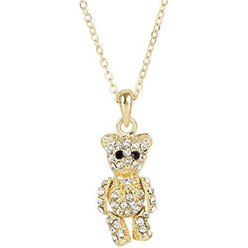 Heirloom Finds Gold Tone Crystal Bowtie Teddy Bear Necklace - Arms and Legs Move! (Bear Arms Costume)