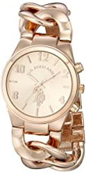U.S. Polo Assn. Women's USC40070 Rose Gold-Tone Watch with Link Bracelet