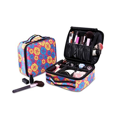 NICOLE&DORIS Portable Makeup Bag Travel Make Up Organiser Adjustable Dividers