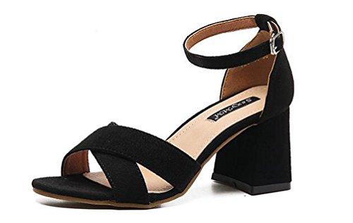 aperta alto alla Sandali 39 7 OL 35 taglia moda X Elegante Casual cm Black Chunky moda tacco UE cintura Scrub w0qzFw8