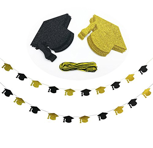 Cualfec Graduation Hat Banners Personalized with Real Glitter for Graduation Party Decorations - 20 Counts. (Black & Gold)