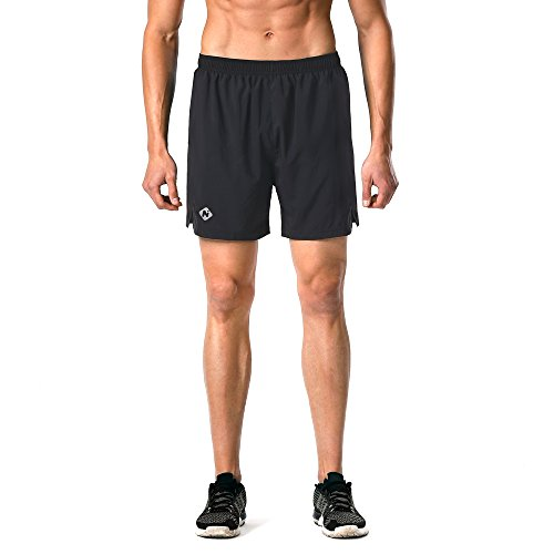 Naviskin Men's 5″ Quick Dry Running Shorts Workout Athletic Outdoor Shorts Zip Pocket Black Size XL