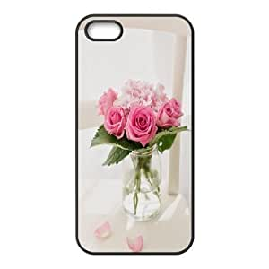 For SamSung Galaxy S6 Phone Case Cover Pink Roses Bouquet Vase Hard Shell Back Black For SamSung Galaxy S6 Phone Case Cover 315755