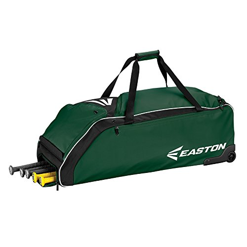 Easton E610W Bat & Equipment Wheeled Bag | Baseball Softball | 2019 | Green | 4 Bat Compartment | Vented Pockets - Minimize Odor & Quick Dry | Removable Shoe Pocket | Lockable Pockets | Fence Hook