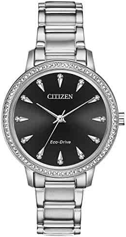 Ladies  Citizen Eco-Drive Silhouette Silver-Tone Crystal Watch FE7040-53E 88b5bb2a5a