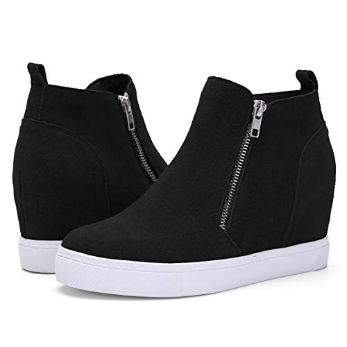 Athlefit Women's Hidden Wedge Sneakers Platform Booties Casual Shoes Size 6 Black