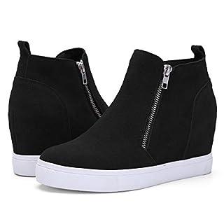 Athlefit Women's Hidden Wedge Sneakers Platform Booties Casual Shoes Size 8 Black