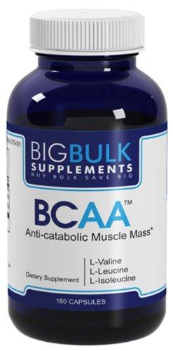BCAA acides aminés branchés L-valine, la L-leucine et la L-isoleucine. Big vrac suplements 04:01:01 BCAA Ratio L Leucine 1200mg 180 Capsules 1 Bouteille