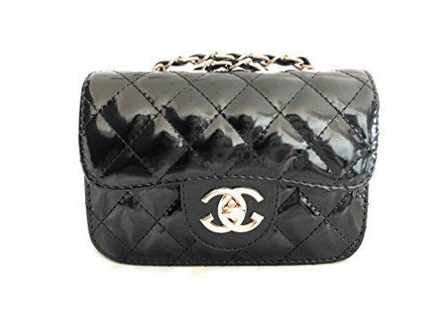 Quilted Patent Bag (Chanel Inspired Toddler Baby Girl Purse with Gold Chain (Black) Cherie Baby Couture Patent Leather Quilted)