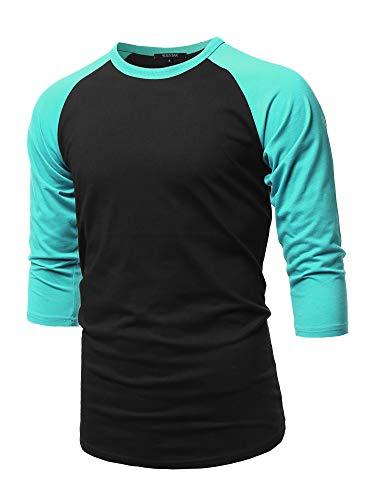 Casual 3/4 Raglan Sleeve Baseball Top Black Jade L