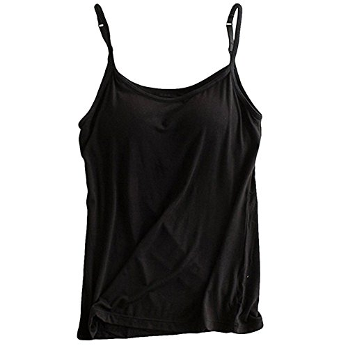 Womens Modal Built-in Bra Padded Camisole Yoga Tanks Tops SP Black ()