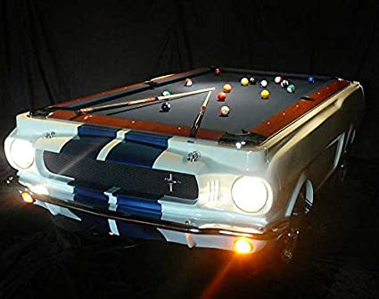 Amazoncom Mustang Shelby Car Pool Table White Complete With Its - Mustang pool table