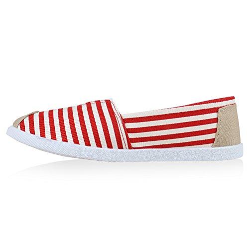 Stiefelparadies Damen Espadrilles Bast Slipper Glitzer Streifen Sommer Schuhe Flandell Rot Weiss